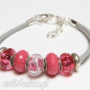 różowo-szara bransoletka z linki kauczukowej koralikami ze szkła murano, żona