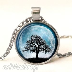 ręcznie wykonane naszyjniki księżycowe drzewo - medalion z łańcuszkiem