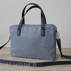 torba na laptop - jodełka szara i skóra stalowa, aktówka, laptop, prezent