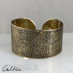 Rybia łuska - mosiężna bransoletka, bransoleta, szeroka, metalowa, złota