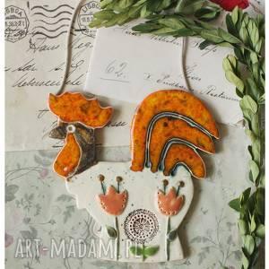 świąteczny prezent, kgut z tulipanami, ceramika, kogut, wielkanoc