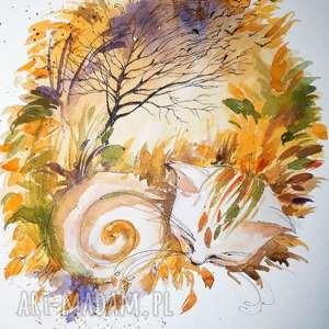 handmade zwierzaki kot jesienny akwarela artystki adriany laube - jesień, obraz