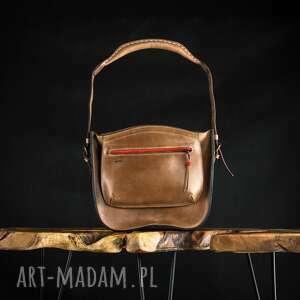 ręcznie robione na ramię brązowa skórzana torebka od ladybuq, wykonana do ręki i rozmiar