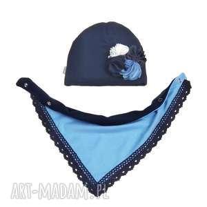 bukiet-pasji cienki wiosenny komplet dla dziewczynki czapka - bawełna