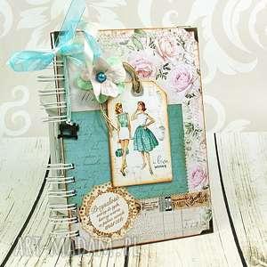 handmade scrapbooking notesy notatnik krawiecki w turkusach