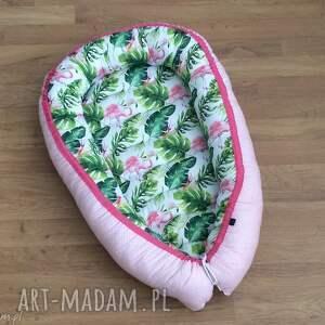 kadaro kokon, gniazdko niemowlęce flamingi, otulacz, fasolka, liście