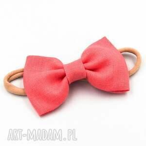 opaska do włosów z kokardą coral pink linen, włosów, elastyczna