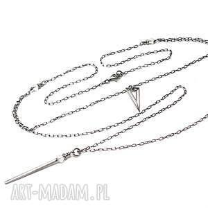 triangle - naszyjnik, srebro, oksydowane, kryształgórski