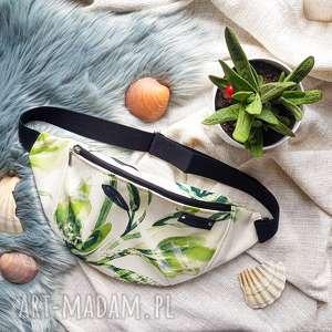 nerka wegańska pojemna xxl zielony kwiat, nerka, naturalna, torba