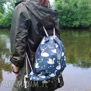 worek plecak wodoodporny łabędzie lilie wodne, worek, plecak, łabędzie