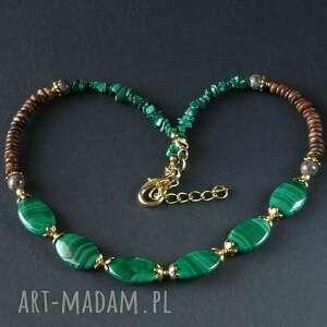 vintage style naszyjnik w duchu pięknej starej biżuterii z prawdziwym malachitem