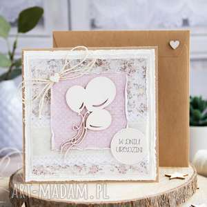 kartki kartka urodzinowa z balonami warstwowa, w kopercie
