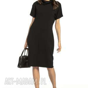 sukienki luźna sukienka z golfikiem, t291, czarny, luźna, sukienka, sportowa