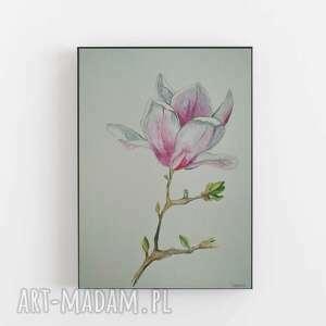 magnolia-akwarela formatu 24/32 cm, akwarela, magnolia, farba, kwiaty, papier