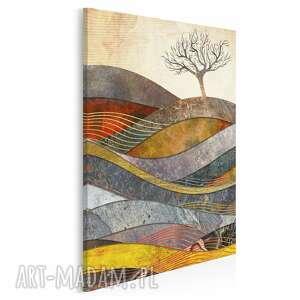 obraz na płótnie - drzewo wzgórze fale w pionie 50x70 cm 72603, drzewa