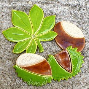 Kasztany magnesy ceramika pracownia ako kasztany, liść, jesień