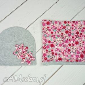 Cienki komplet dla dziewczynki, czapka, komin, szal, chusta