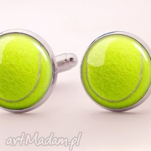 ręcznie zrobione spinki do mankietów piłka tenisowa - spinki do mankietów