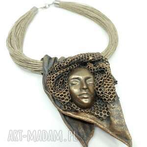 handmade prezent na święta kobiecy artystyczny naszyjnik lniany