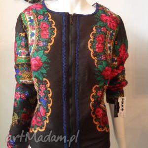 folk design letnia kurtka- czarna - kurtka, czarna, chusta, folk, design, góralska