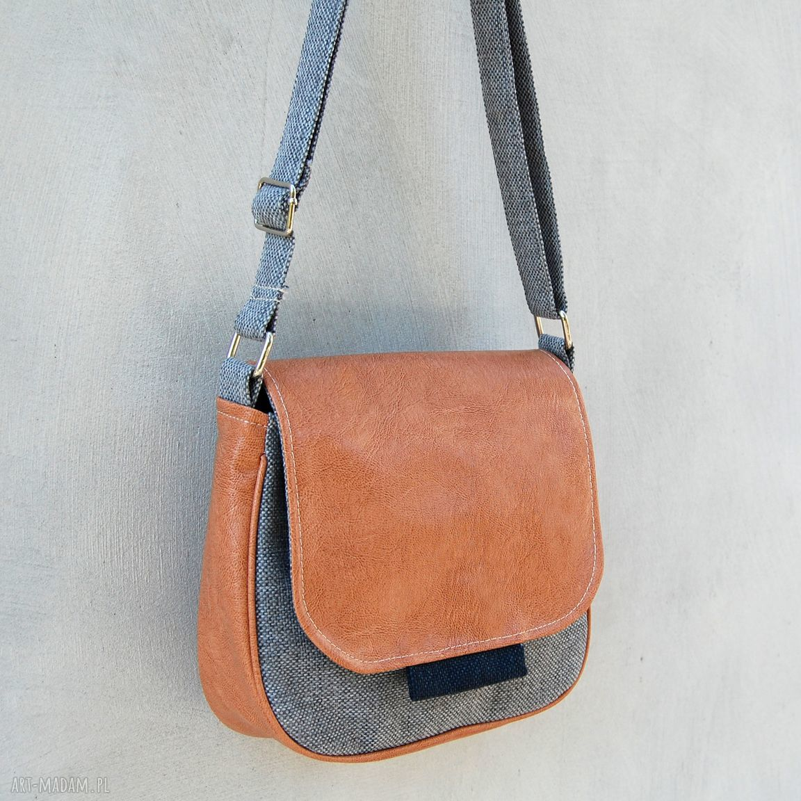 hand-made mini bambi - mała torebka - beż, szarość i granat