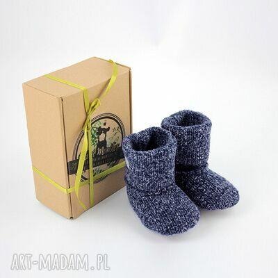 ręczne wykonanie buciki bambosze / hand made / wełna / szary granat