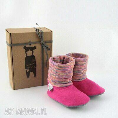 ręczne wykonanie buciki bambosze z golfem / handmade / różowa tęcza