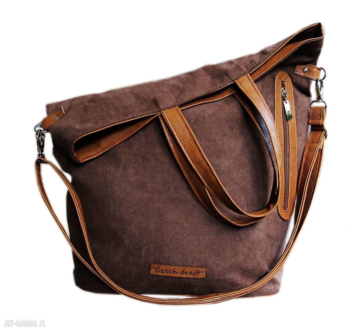 handmade torebki torba brązowy zamsz
