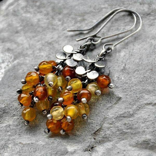 srebro kolczyki pomarańczowe miodowe agaty - subtelne