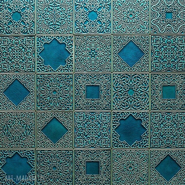 handmade ceramika kafle turkusowe arabeski zestaw i