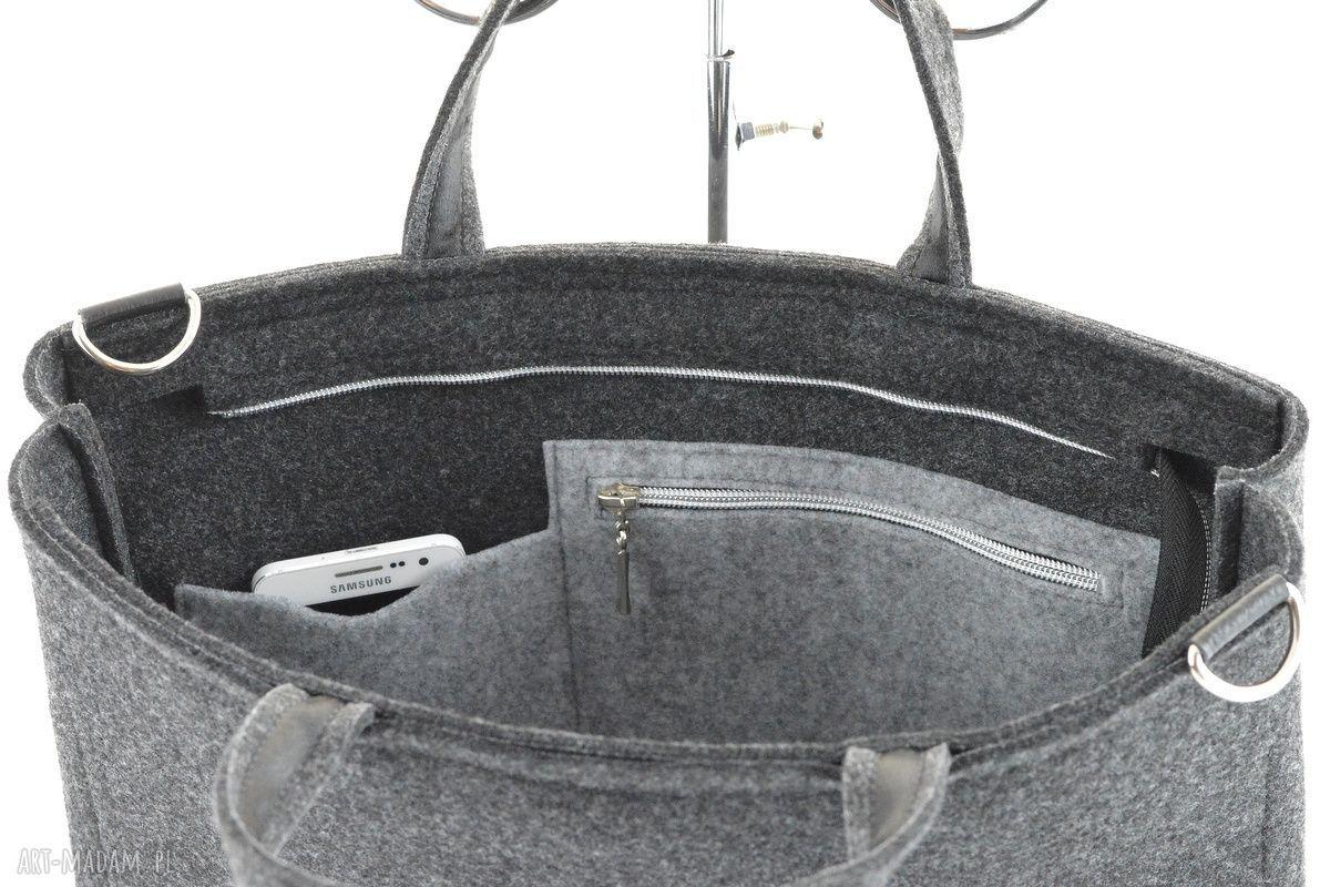 gustowne na laptopa filcowa duża grafitowa torebka - laptopówka