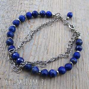 Bransoletka z lapis lazuli łańcuszkami, lapis, lazuli, srebro, oksydowane,