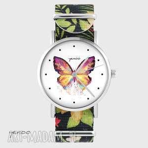 ręcznie wykonane zegarki zegarek - motyl kwiaty, nato