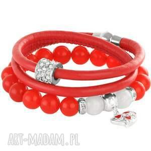 lavoga red lips , rzemień, serce, cyrkonie biżuteria