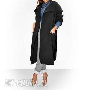 bien fashion długi czwrny płaszcz damski z paskiem, casual, dresowy, luźny, oversize