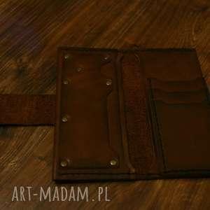 rezerwacja - portfel z postarzanej skóry grawerem, portfel