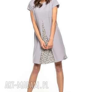 Sukienka z kontrafałdą przodu, T262, szary, sukienka, kontrafałda, tkanina