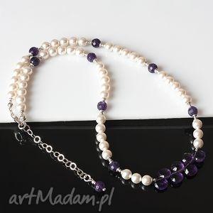 perły w łzach - perły, ametyst, swarowski, srebro, łezki