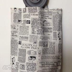 Torebka gazetowa, gazeta, len, bawełna