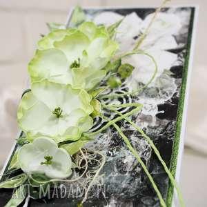 Zielono-czarna scrapbooking kartki kartk kartka, życzenia,