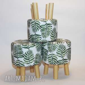 Pufa Liść Paproci - 36 cm, puf, stołek, taboret, ryczka, hocker,