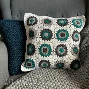 Poszewka na poduszkę 40x40 cm zielone kwiatki poduszki