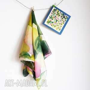 malowany jedwab jedwabna malowana apaszka w zieleniach, zielona