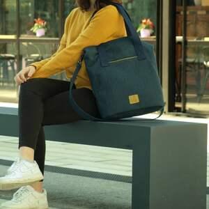 torba w charakterze worka w kolorze granatowym - torba, torebka, torba-na-ramię