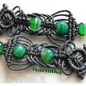 Gray& green- kolczyki makramowe - Ręczne wykonanie