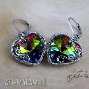 kolczyki serca swarovski vitrail medium, wire wrapping, kolczyki