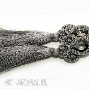 szare kolczyki sutasz, sznurek, eleganckie, wiszące, wieczorowe, długie, grafitowe