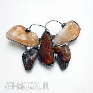PREZENT. Broszka cudna. Motyl z cytrynu bursztynem. Piękny prezent dla damy ze