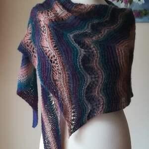 wyjątkowa asymetria duży szal, rękodzieło, chusta, ażurowy, artystyczny