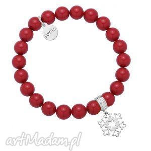 sotho czerwona bransoletka z pereł swarovski® crystal, świąteczna